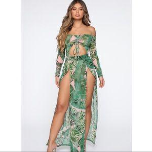 Tropical Off the Shoulder Maxi Dress